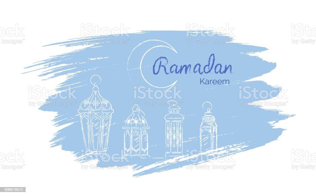 Hand Drawn Illusration of Ramadan Lanterns. Kids drawing, sketch style. vector art illustration