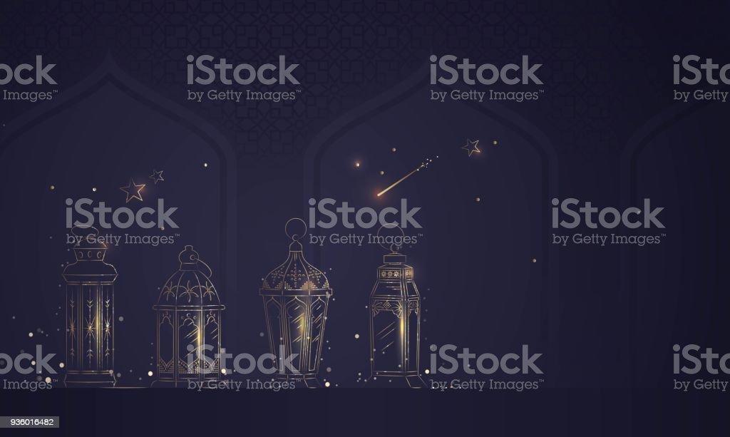 Hand Drawn Illusration of Ramadan Lanterns with Golden Lights on Dark Blue Background. vector art illustration