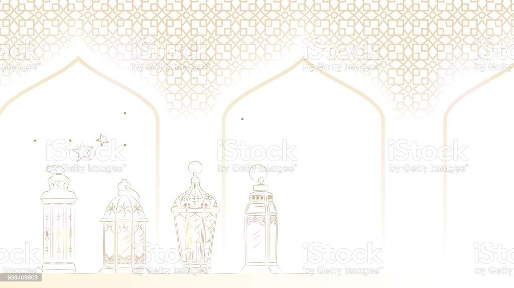 Hand Drawn Illusration of Ramadan Lanterns with Golden Lights on White Background. vector art illustration