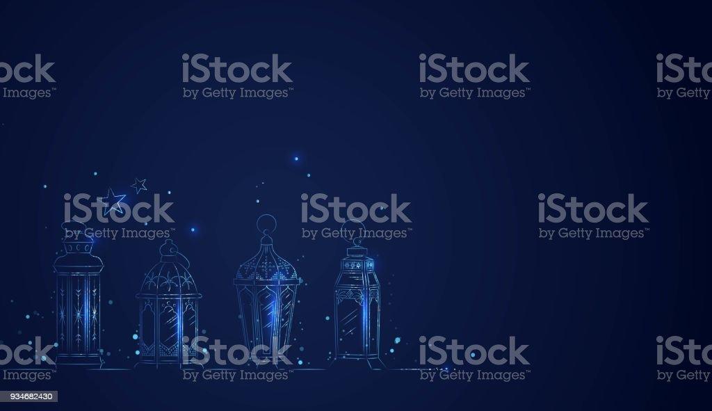Mano dibujada Alhstrom de Ramadán linternas con luces - ilustración de arte vectorial