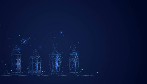 hand drawn illusration of ramadan lanterns with lights - ramadan stock illustrations, clip art, cartoons, & icons