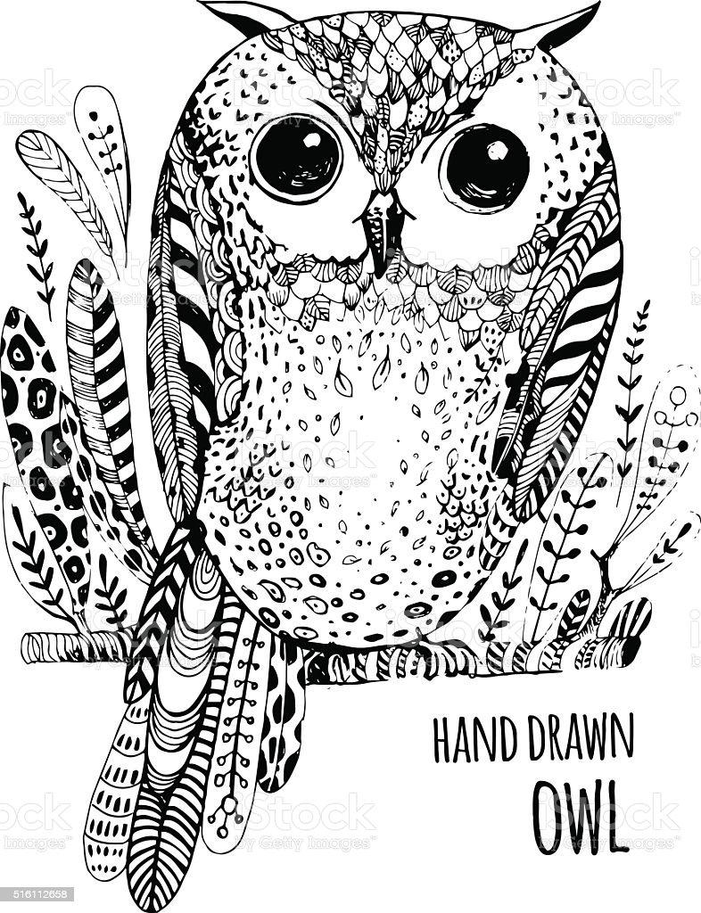 Pájaro Ilustración Dibujado A Mano Arte Libro Para Colorear Búho ...
