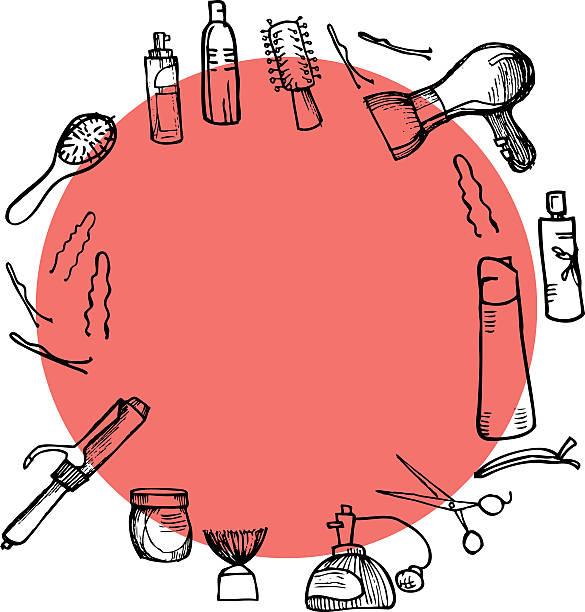 von hand gezeichnete illustrationen-friseur-tools (schere, kamm, design - haarsprays stock-grafiken, -clipart, -cartoons und -symbole