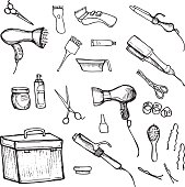 Hand drawn illustration -  Hairdressing tools (scissors, combs, styling)