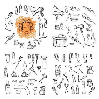 Hand drawn illustration - Hairdressing tools