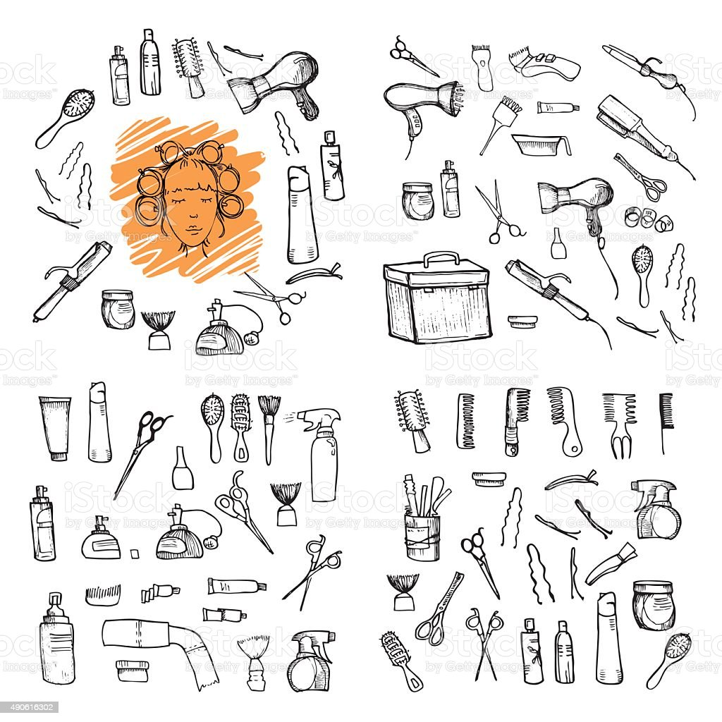 Hand drawn illustration - Hairdressing tools vector art illustration