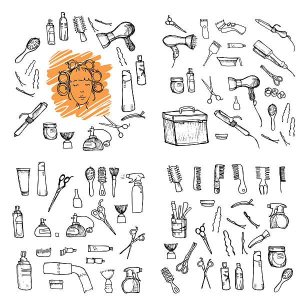hand drawn illustration - hairdressing tools - beauty salon stock illustrations, clip art, cartoons, & icons