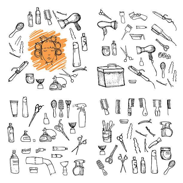ilustrações, clipart, desenhos animados e ícones de ilustração desenhada à mão de ferramentas de cabeleireiro - salão de beleza
