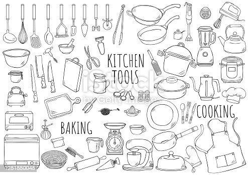 Hand drawn illustration: kitchen tools watercolor color