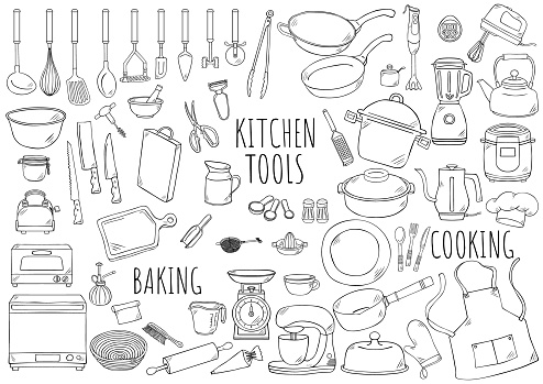 Hand drawn illustration: kitchen tools