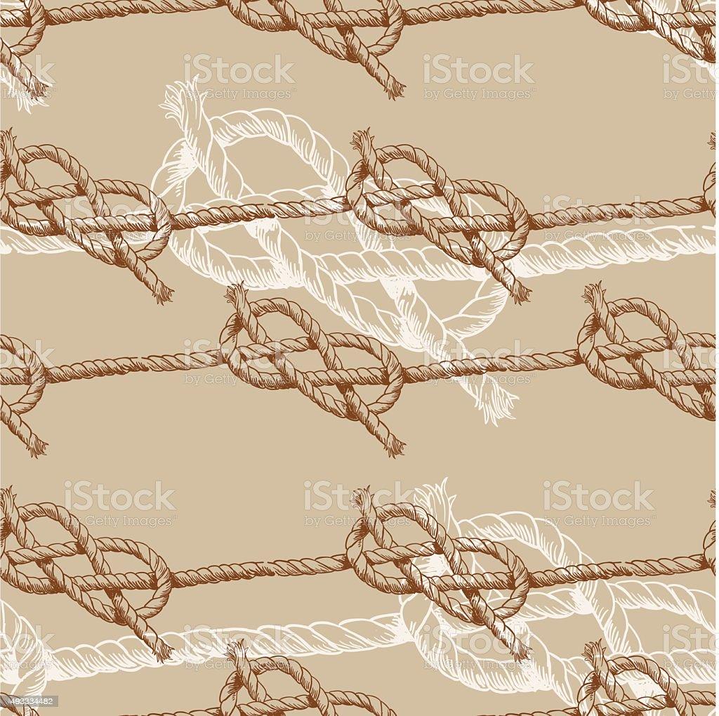 Hand drawn illustration knots. Brown attern. Vector design