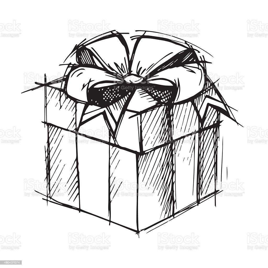 hand drawn illustration magic gift box vector stock vector art