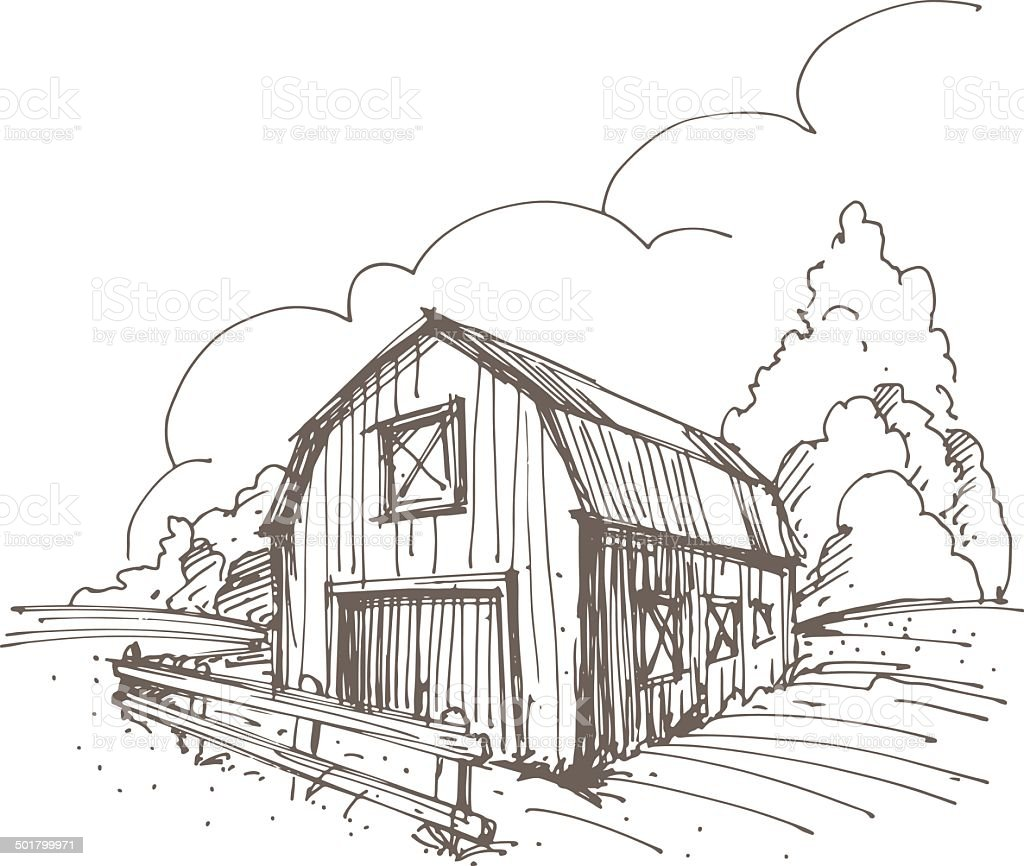 Hand drawn illustration of a farm vector art illustration