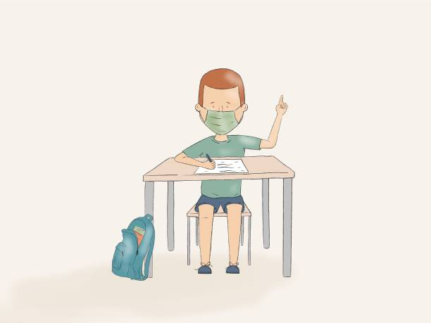 Hand drawn illustration of a kid using face mask pointing up on a school desk vector art illustration