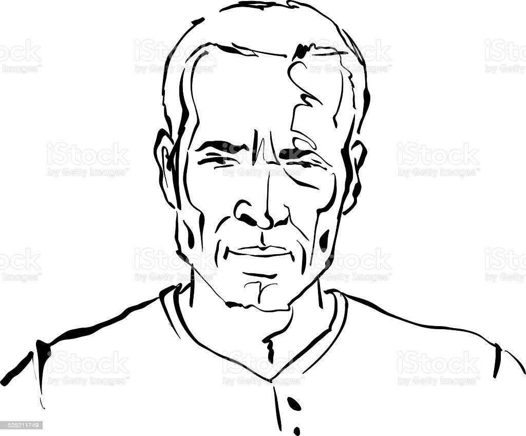 Hand drawn illustration of a man on white background, black vector art illustration