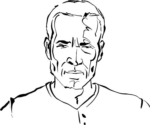 hand drawn illustration of a man on white background, black - old man portrait drawing stock illustrations, clip art, cartoons, & icons
