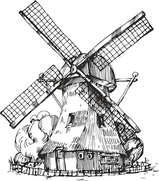Hand drawn illustration of a mill vector art illustration