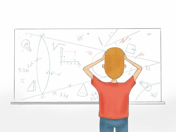 Hand drawn illustration of a student looking at math problem on whiteboard vector art illustration