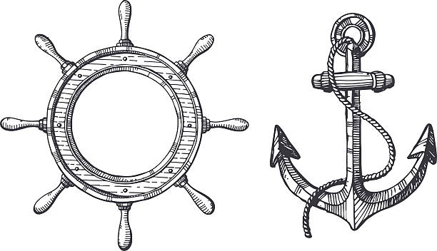 bildbanksillustrationer, clip art samt tecknat material och ikoner med hand drawn illustration of an anchor and a steering wheel - ship
