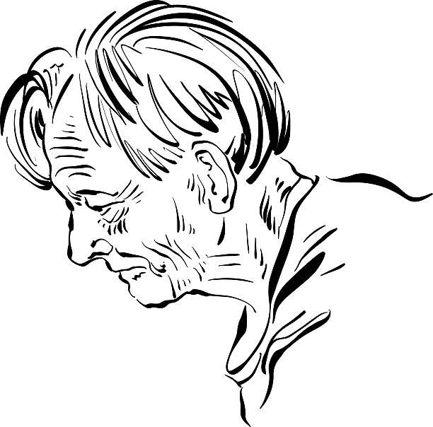 hand drawn illustration of an old man on white background - old man portrait drawing stock illustrations, clip art, cartoons, & icons