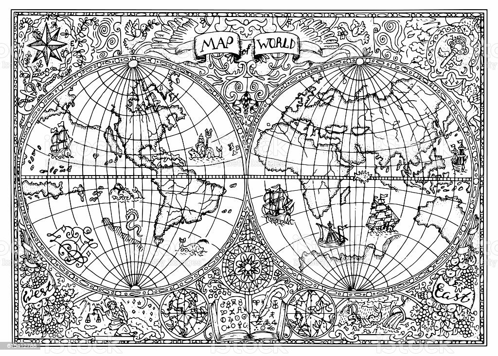 Hand drawn illustration of ancient atlas map of world stock vector hand drawn illustration of ancient atlas map of world royalty free hand drawn illustration of gumiabroncs Choice Image