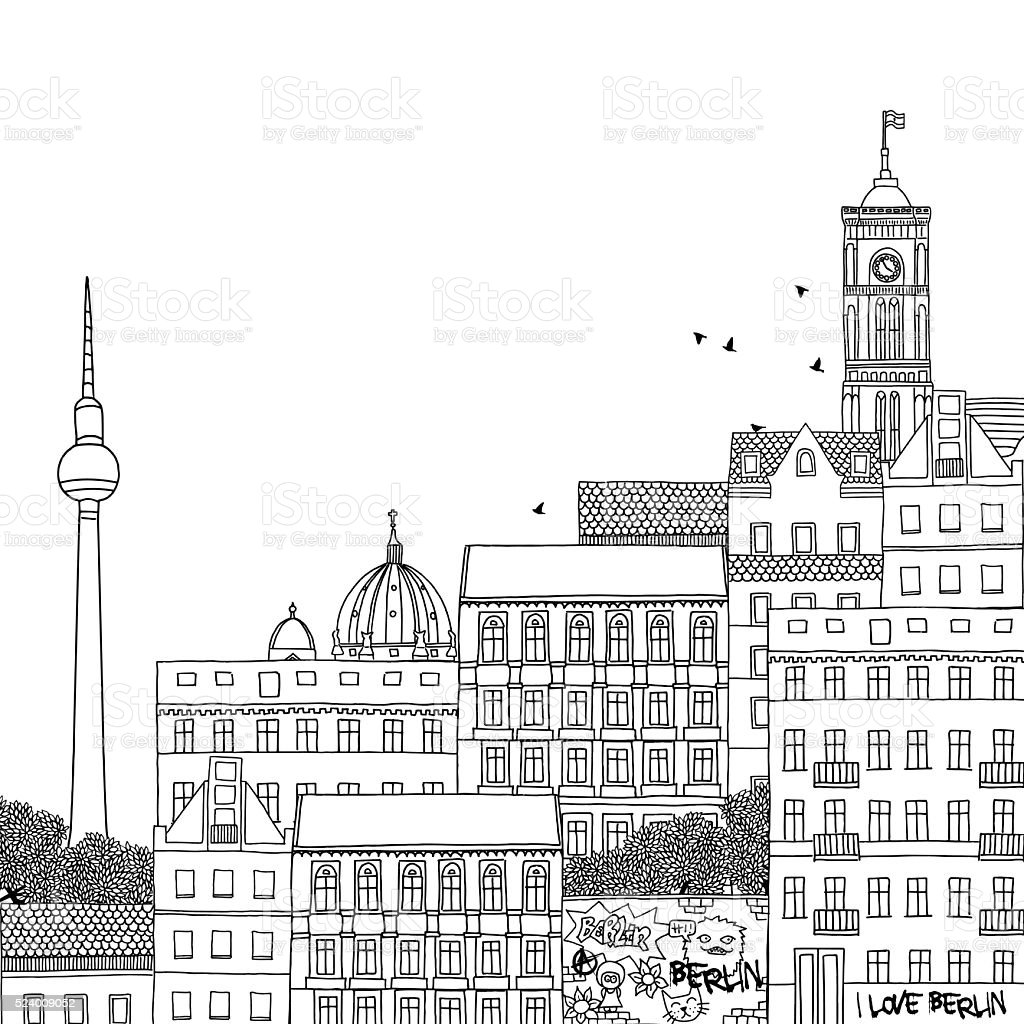 Hand drawn illustration of Berlin royalty-free hand drawn illustration of berlin stock vector art & more images of apartment