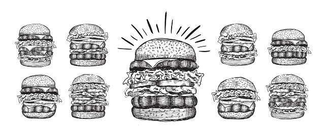Hand drawn illustration of burger for menu.