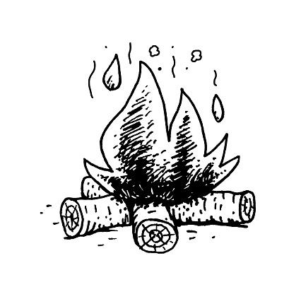 Hand drawn illustration of burning wood