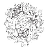 Hand drawn sketch illustration for adult coloring book vector was made in eps 10.