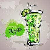 Hand drawn illustration of cocktail mojito.