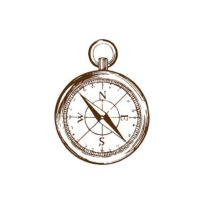 Hand drawn illustration of compass in vector. Used for travel poster, card, touristic emblem design etc.