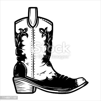 Hand drawn illustration of cowboy boot isolated on white background. Design element for poster, card, banner, t shirt, emblem, sign. Vector illustration