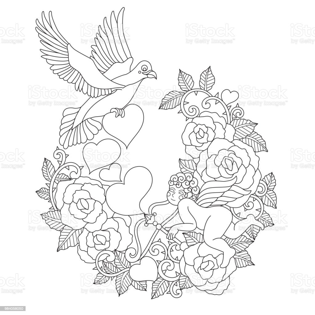 Aşk Tanrısı Ve Gül Soyut Tarzda çizilmiş El çizimi Stok Vektör