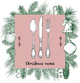 Hand drawn illustration of curly ornamental silver tableware, plate a pink background. Vector frame with hand drawn elements: branches of fir, cones, streamers, bell, bow, Christmas ball. Vector Illustration