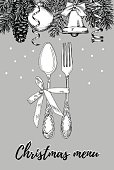 Hand drawn illustration of curly ornamental silver tableware, plate a grey background. Vector frame with hand drawn elements: branches of fir, cones, streamers, bell, bow, Christmas ball. Vector Illustration