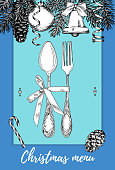 Hand drawn illustration of curly ornamental silver tableware, plate a blue background. Vector frame with hand drawn elements: branches of fir, cones, streamers, bell, bow, Christmas ball. Vector Illustration