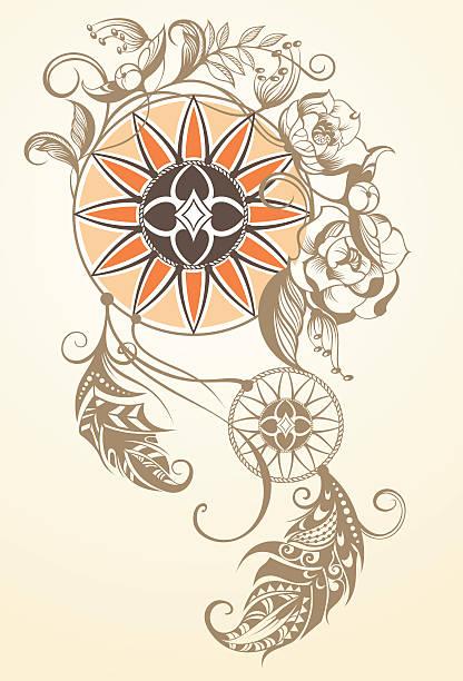 手描きイラストのドリームキャッチャー - 花のボーダー点のイラスト素材/クリップアート素材/マンガ素材/アイコン素材