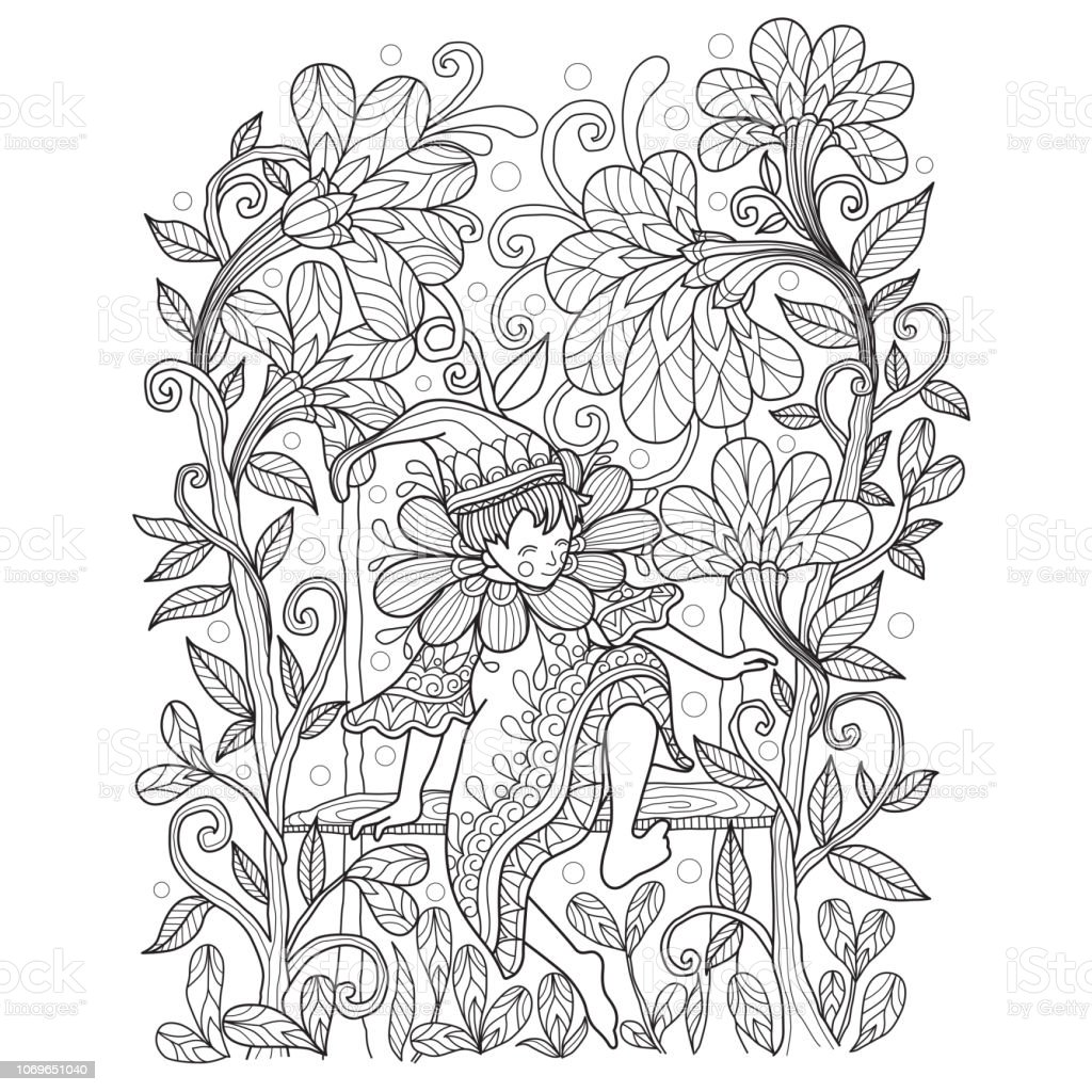 Handgezeichnete Abbildung Von Elf Bei Zentangle Stil Im Garten Stock