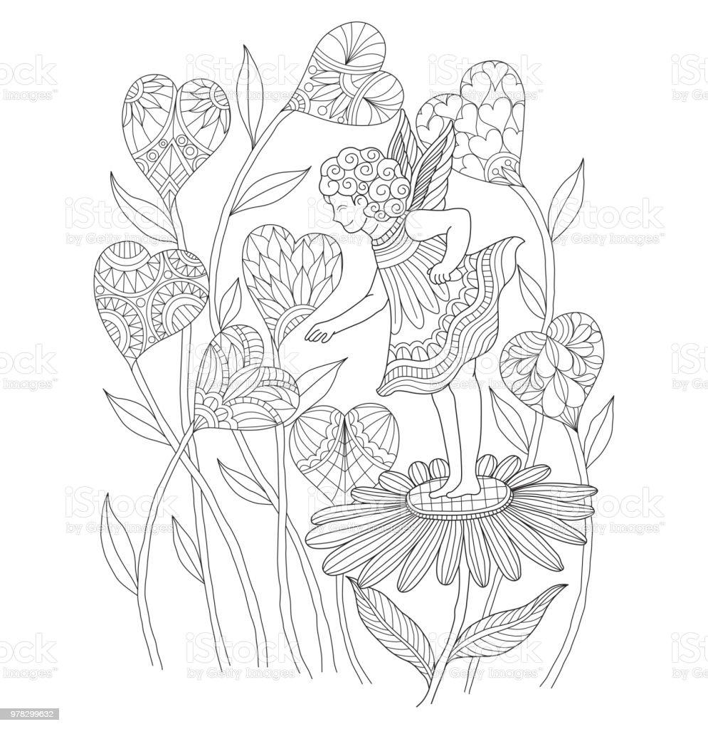 Peri Ve Kalp çiçek Dolaştırmak Tarzı Elle çizilmiş çizimi Stok