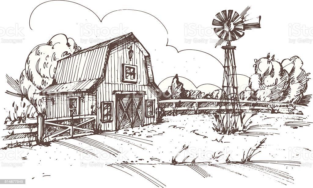 Hand drawn illustration of farmhouse vector art illustration