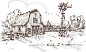 Hand drawn illustration of farmhouse
