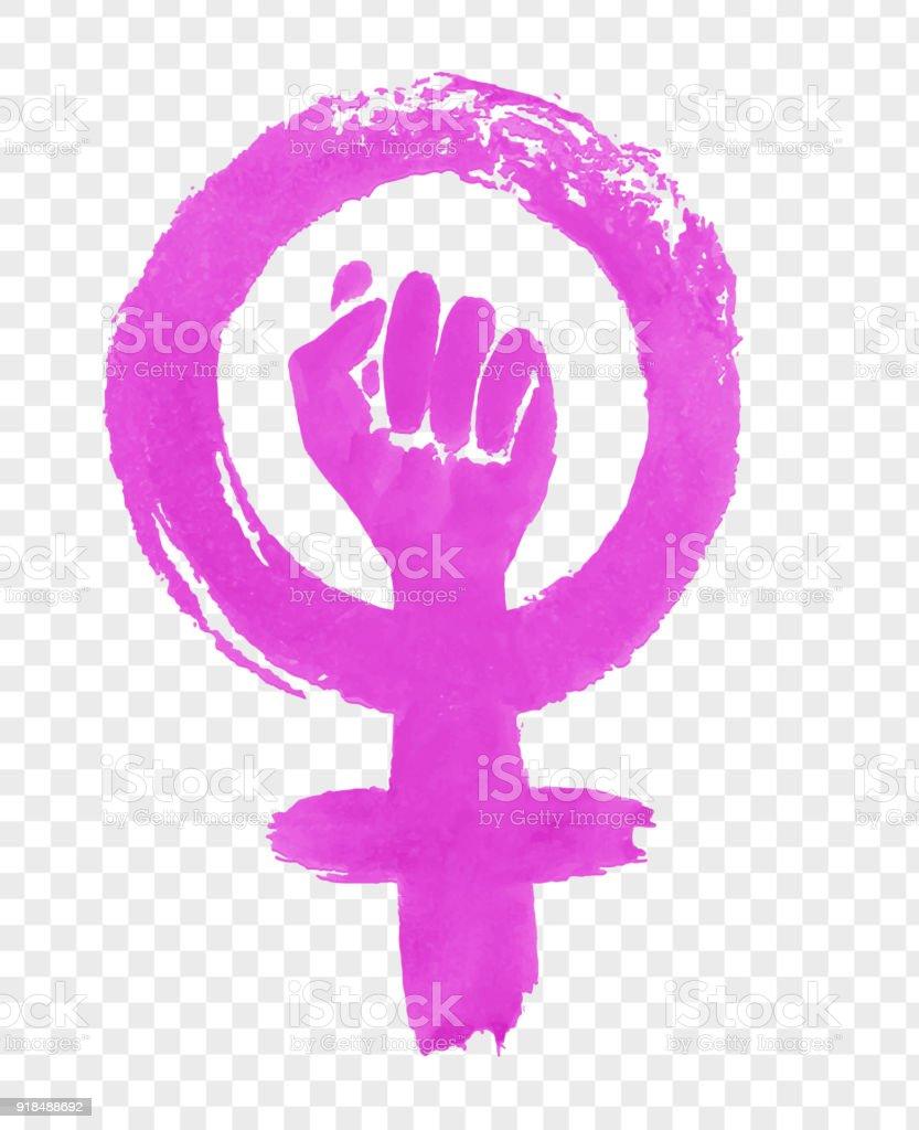 손으로 그린 페미니즘 항의 상징의 그림 - 로열티 프리 개념 벡터 아트