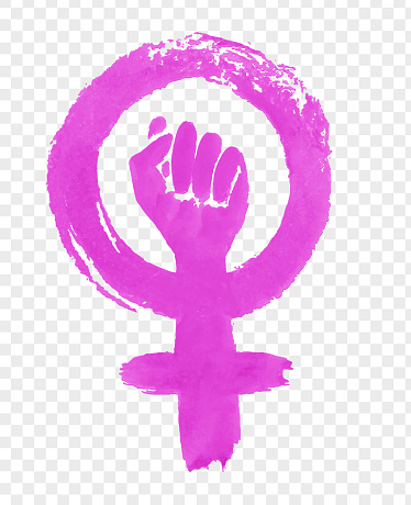 손으로 그린 페미니즘 항의 상징의 그림 개념에 대한 스톡 벡터 아트 및 기타 이미지