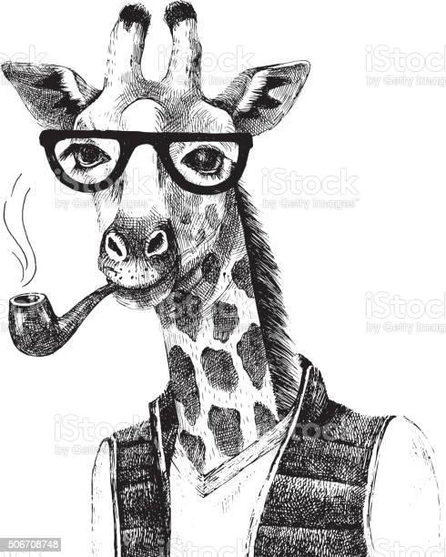 Hand drawn illustration of giraffe hipster vector id506708748?b=1&k=6&m=506708748&s=612x612&h=v9u6nmnmo0ypwi9bff1bn lvi6gogvwrgbha36xjtnc=