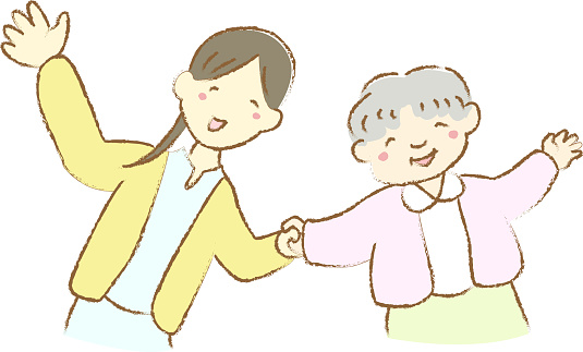 Hand drawn illustration of grandma and woman holding hands