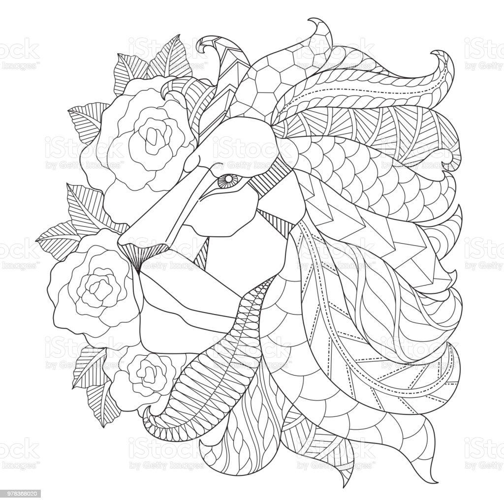 Hand dras illustration av lion och blomma i härva stil vektorkonstillustration