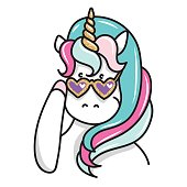 Hand drawn illustration of magic unicorn in sunglasses. Can be used for greeting, birthday and invitation card. Vector isolated illustration
