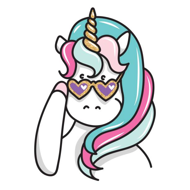 hand drawn illustration of magic unicorn in sunglasses. can be used for greeting, birthday and invitation card - unicorn line drawings stock illustrations, clip art, cartoons, & icons