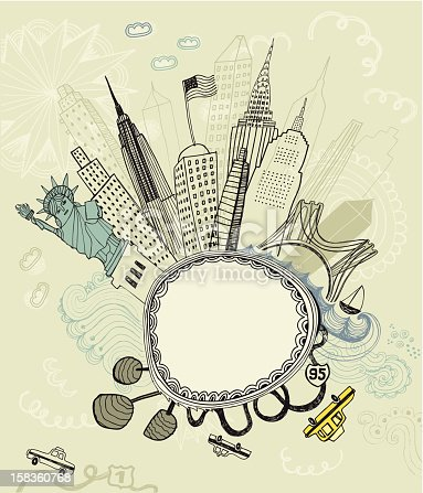 Vector file of the hand drawn city scape New York with famous buildings: Empire State Building, Statue of Liberty, Brooklyn Bridge