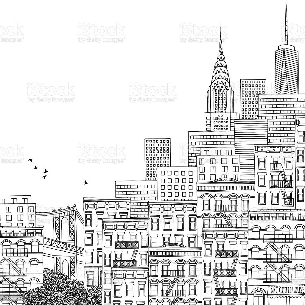Hand drawn illustration of New York royalty-free hand drawn illustration of new york stock vector art & more images of apartment